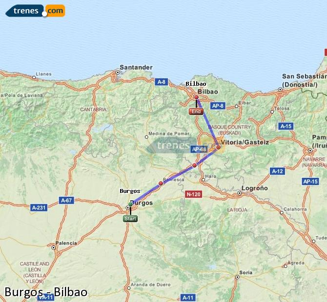 Enlarge map Trains Burgos to Bilbao