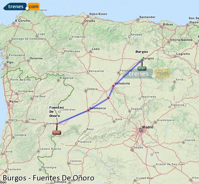 Enlarge map Trains Burgos to Fuentes De Oñoro