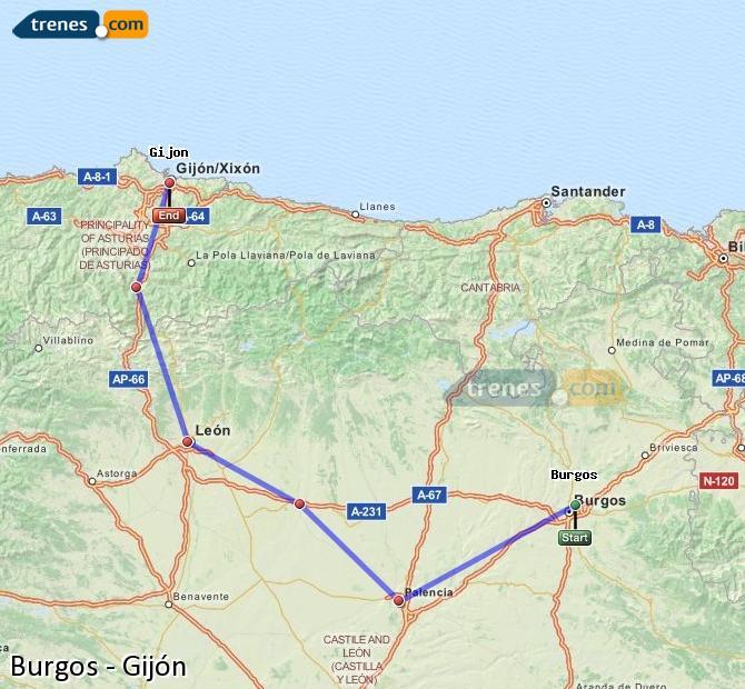 Ampliar mapa Trenes Burgos Gijón