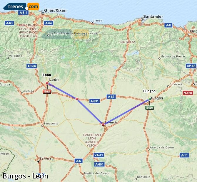 Enlarge map Trains Burgos to Lion