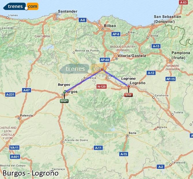 Ampliar mapa Trenes Burgos Logroño