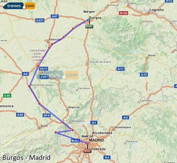 Enlarge map Trains Burgos to Madrid