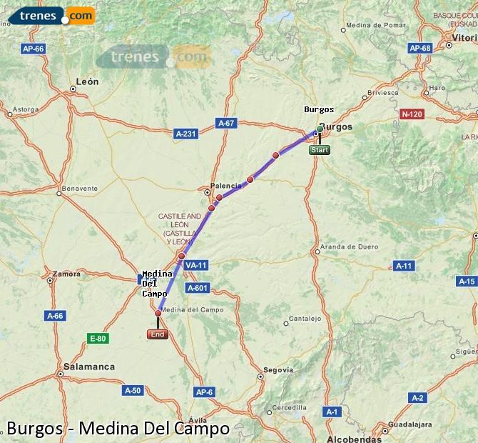 Karte vergrößern Züge Burgos Medina Del Campo