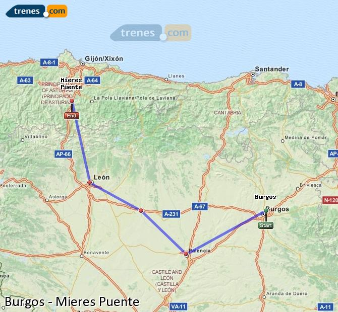 Enlarge map Trains Burgos to Mieres Puente