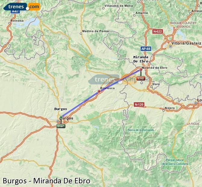 Karte vergrößern Züge Burgos Miranda De Ebro