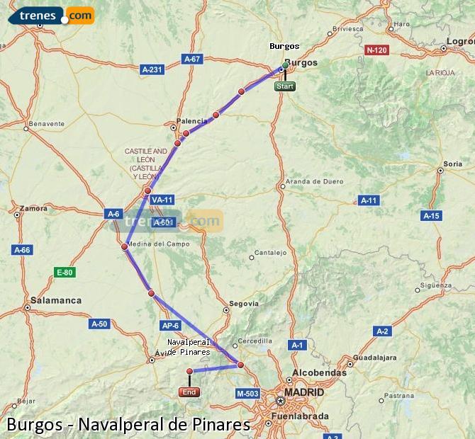 Karte vergrößern Züge Burgos Navalperal de Pinares