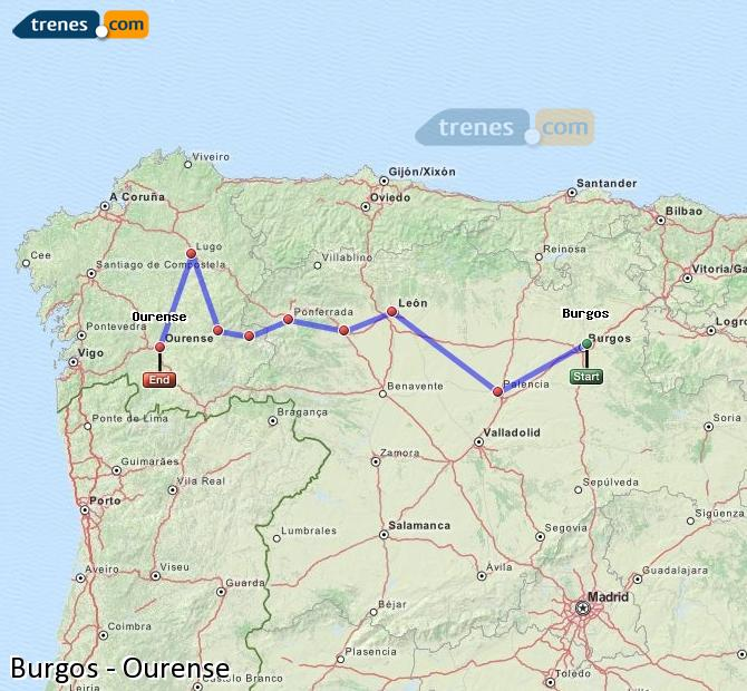 Enlarge map Trains Burgos to Ourense