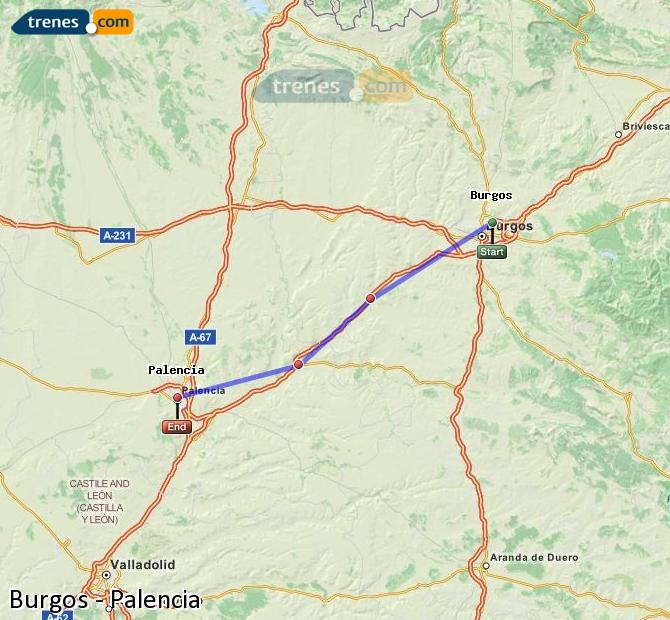 Enlarge map Trains Burgos to Palencia