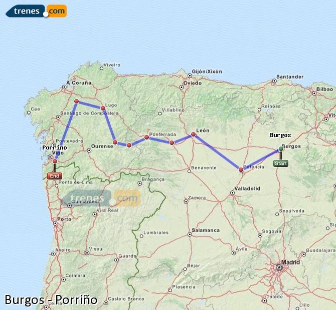 Karte vergrößern Züge Burgos Porriño