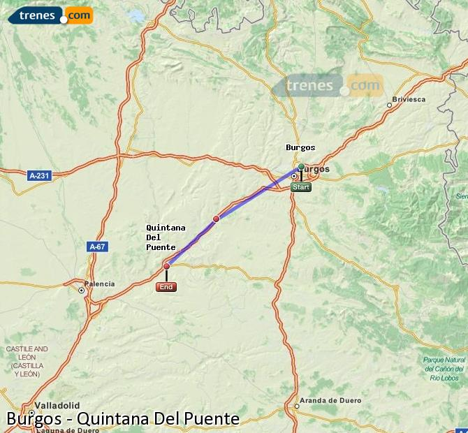 Enlarge map Trains Burgos to Quintana Del Puente