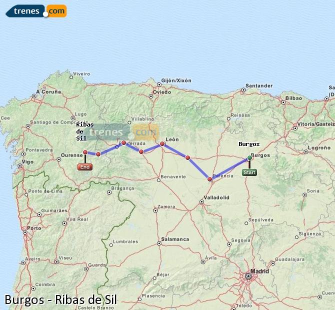 Karte vergrößern Züge Burgos Ribas de Sil