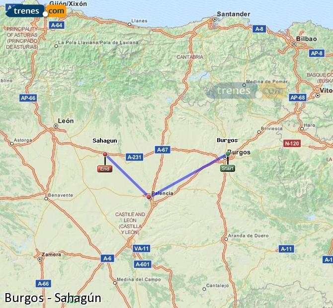 Karte vergrößern Züge Burgos Sahagún