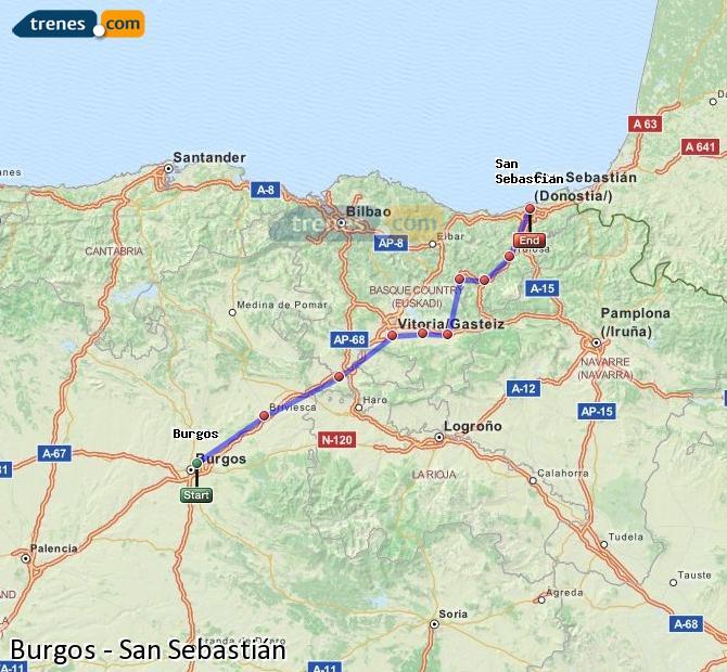Encuentra horarios y billetes y compra billetes de tren baratos Burgos - Donostia.