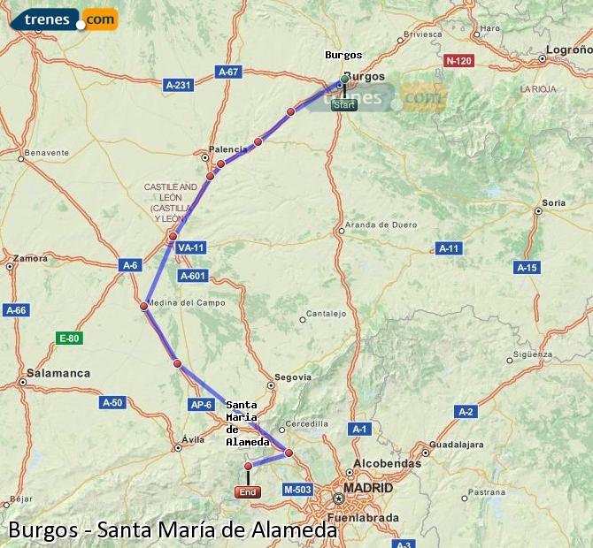 Karte vergrößern Züge Burgos Santa María de Alameda