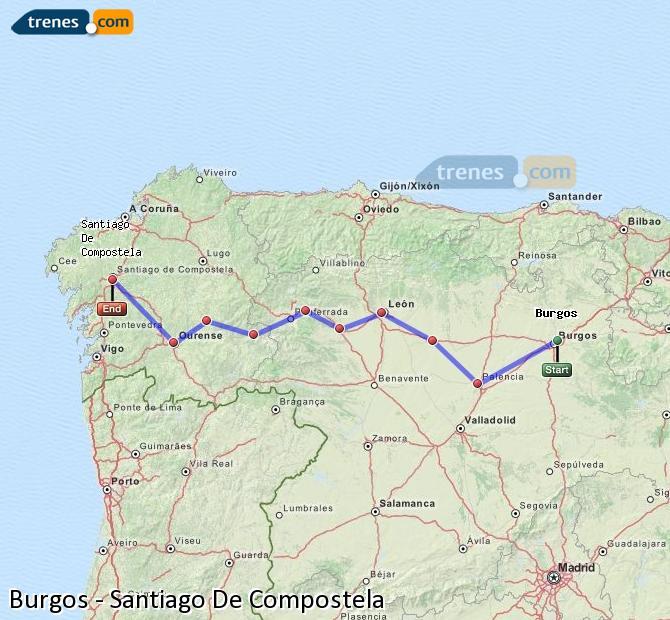 Enlarge map Trains Burgos to Santiago de Compostela