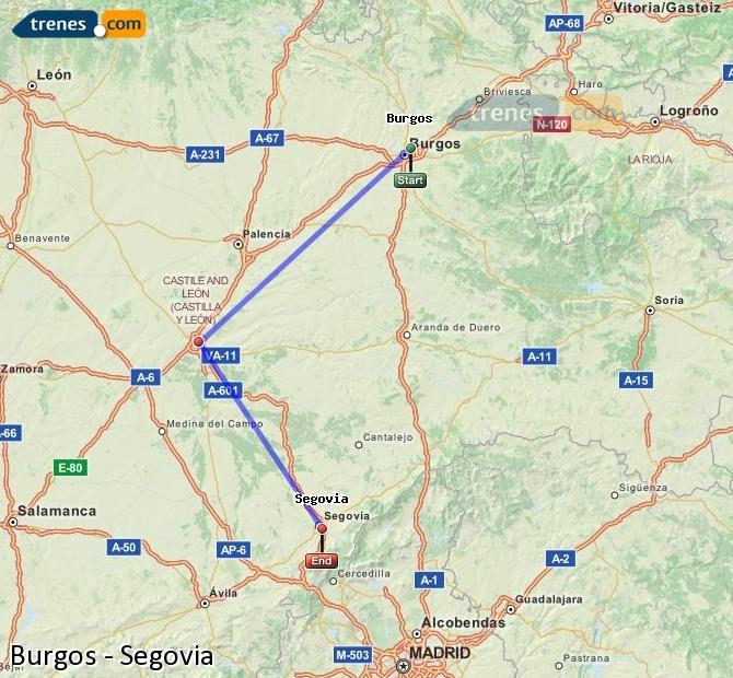 Enlarge map Trains Burgos to Segovia