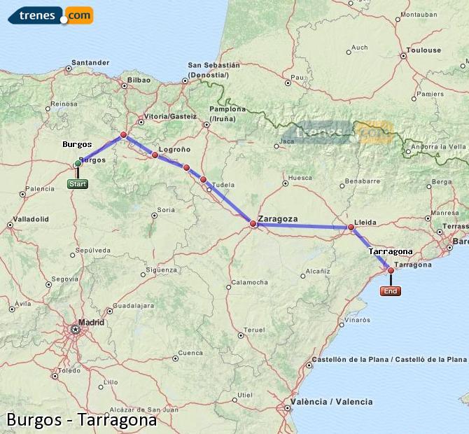 Karte vergrößern Züge Burgos Tarragona