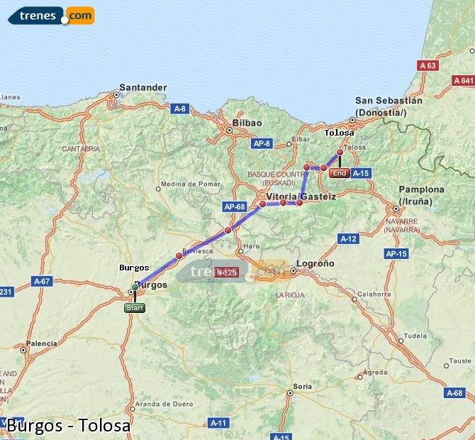 Enlarge map Trains Burgos to Tolosa