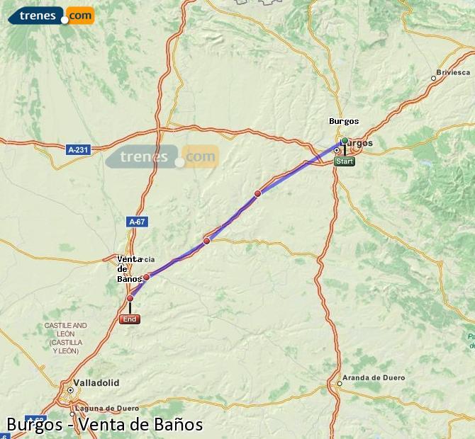 Agrandir la carte Trains Burgos Venta de Baños