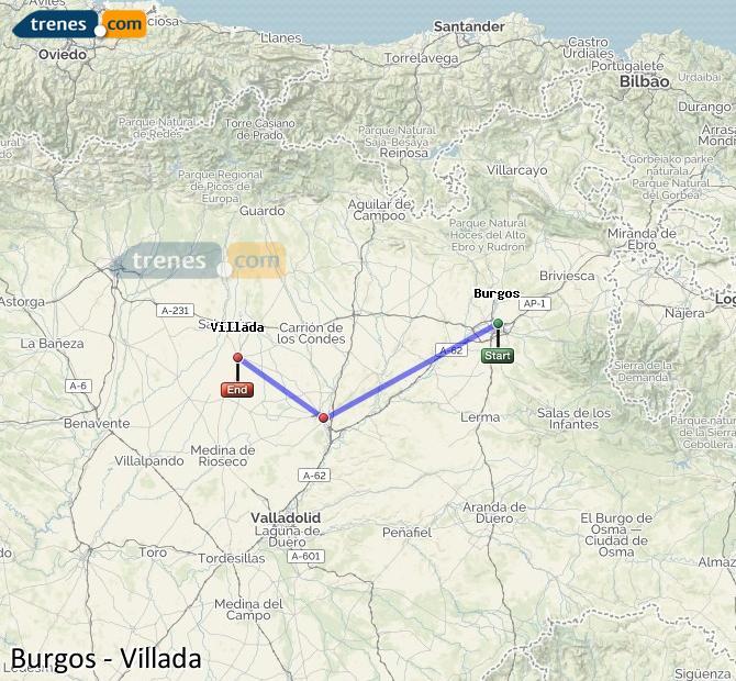 Agrandir la carte Trains Burgos Villada