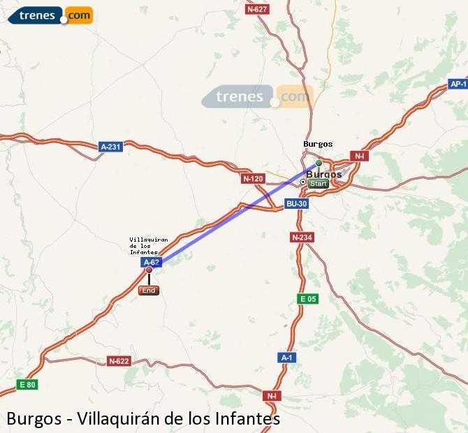Ampliar mapa Trenes Burgos Villaquirán de los Infantes