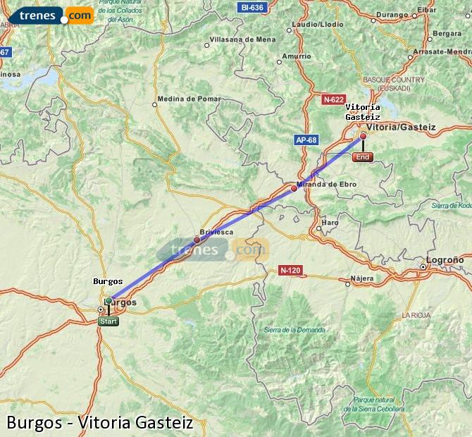 Agrandir la carte Trains Burgos Vitoria Gasteiz
