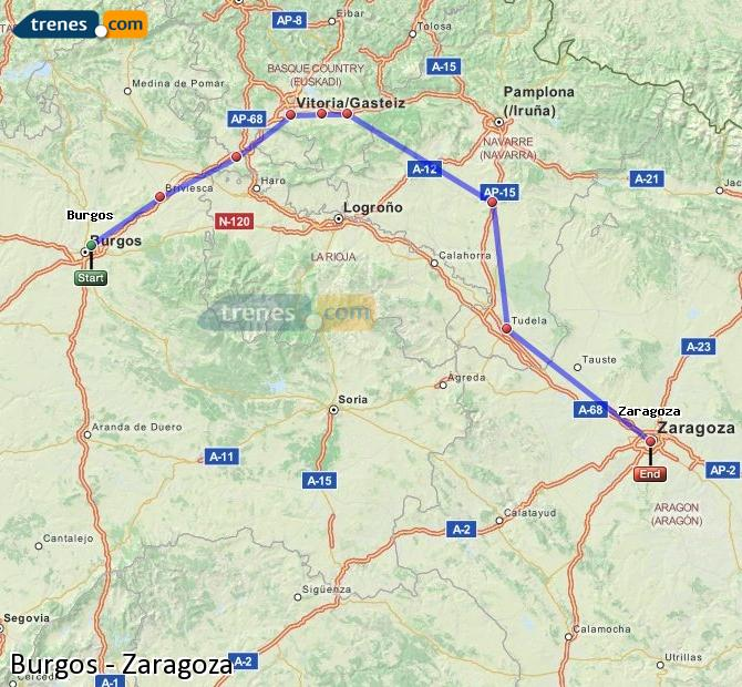 Ampliar mapa Trenes Burgos Zaragoza