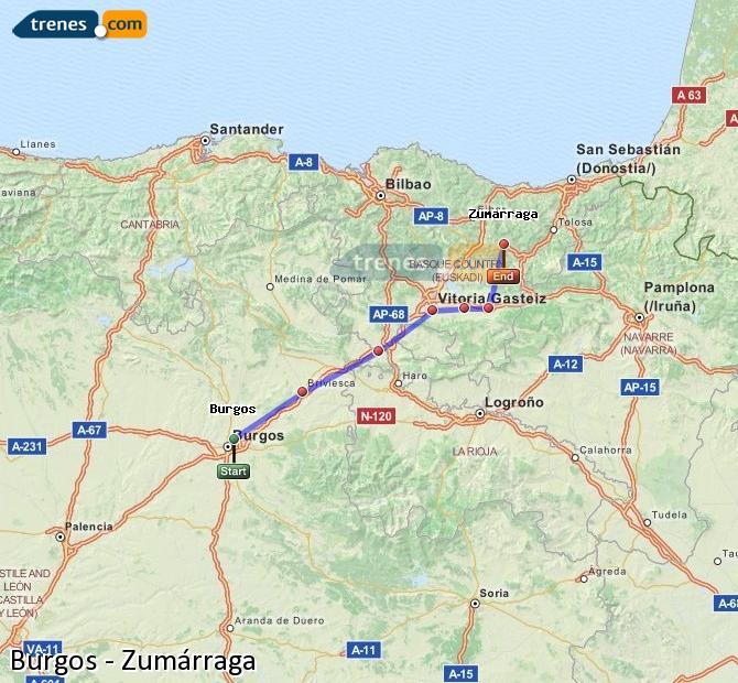 Ingrandisci la mappa Treni Burgos Zumárraga