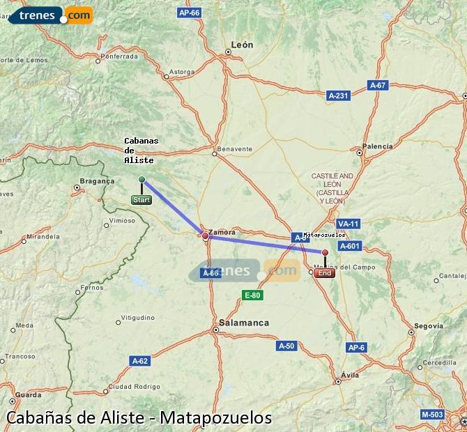 Ingrandisci la mappa Treni Cabañas de Aliste Matapozuelos