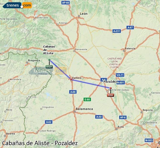 Enlarge map Trains Cabañas de Aliste to Pozaldez