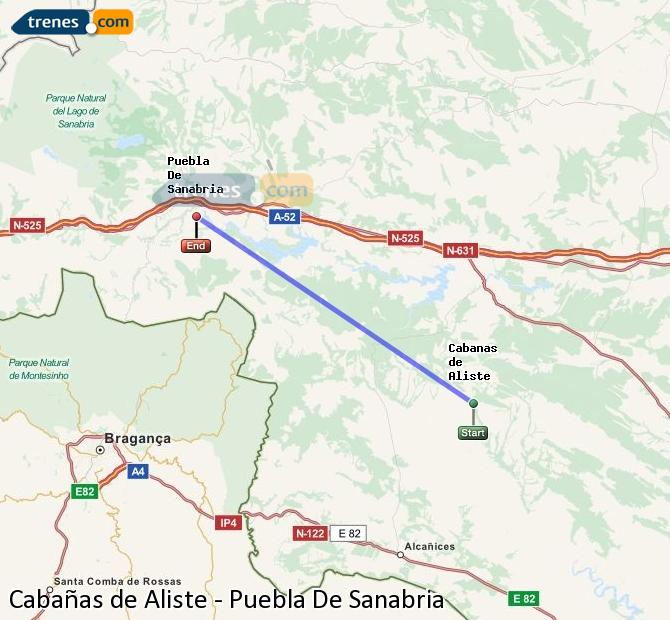 Karte vergrößern Züge Cabañas de Aliste Puebla De Sanabria