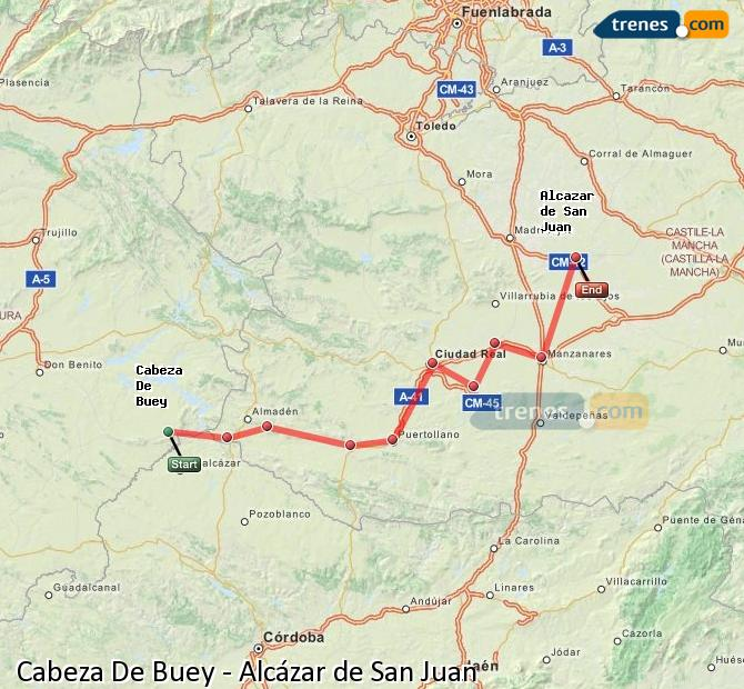 Ingrandisci la mappa Treni Cabeza De Buey Alcázar de San Juan