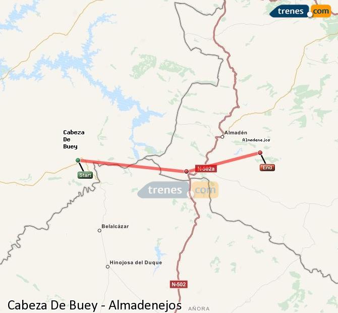 Ampliar mapa Trenes Cabeza De Buey Almadenejos