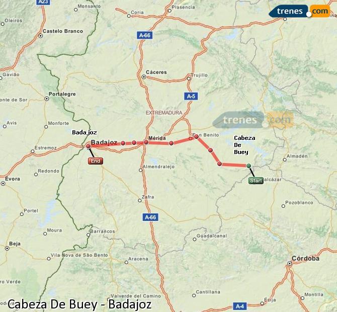 Ampliar mapa Trenes Cabeza De Buey Badajoz