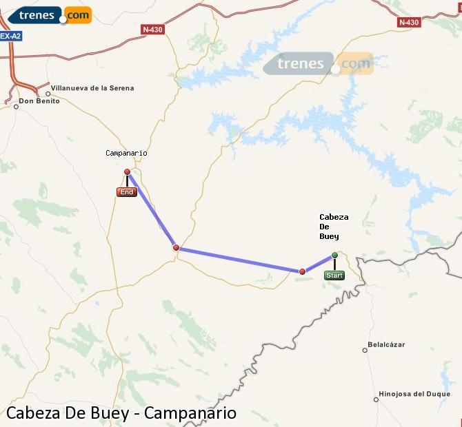 Ingrandisci la mappa Treni Cabeza De Buey Campanario