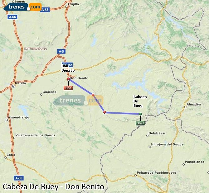 Ingrandisci la mappa Treni Cabeza De Buey Don Benito