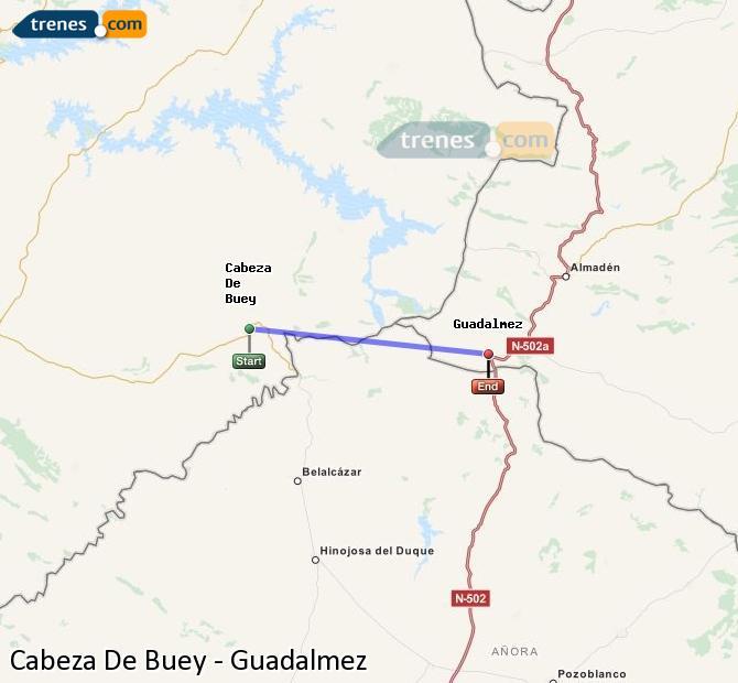 Ingrandisci la mappa Treni Cabeza De Buey Guadalmez