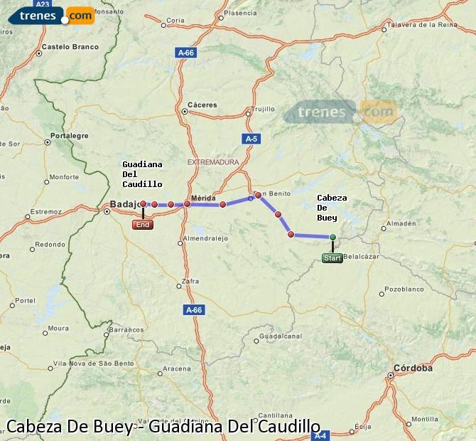Ingrandisci la mappa Treni Cabeza De Buey Guadiana Del Caudillo