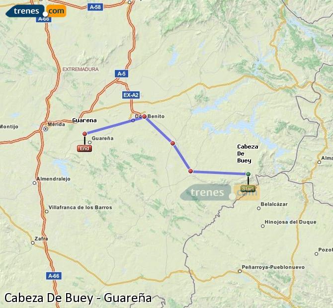 Ampliar mapa Trenes Cabeza De Buey Guareña