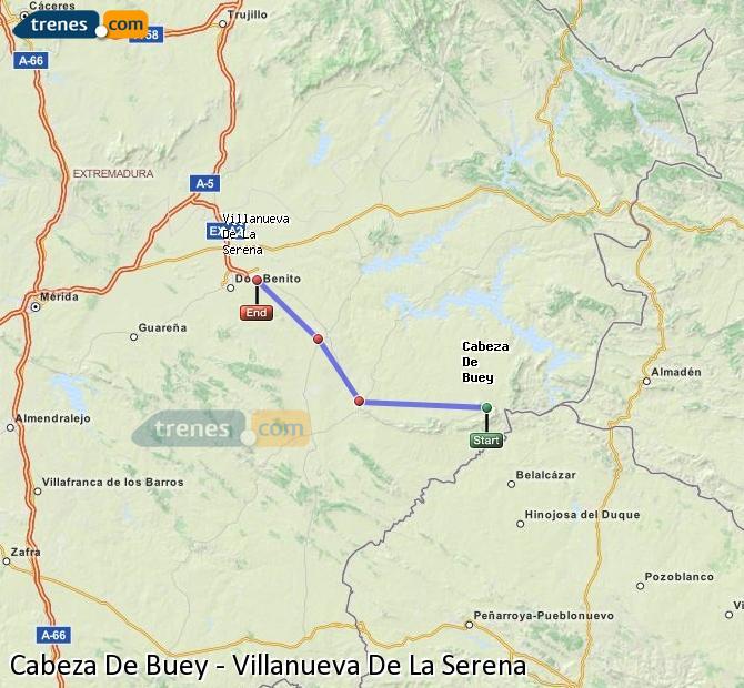 Enlarge map Trains Cabeza De Buey to Villanueva De La Serena