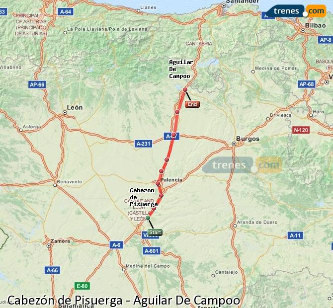 Ingrandisci la mappa Treni Cabezón de Pisuerga Aguilar De Campoo