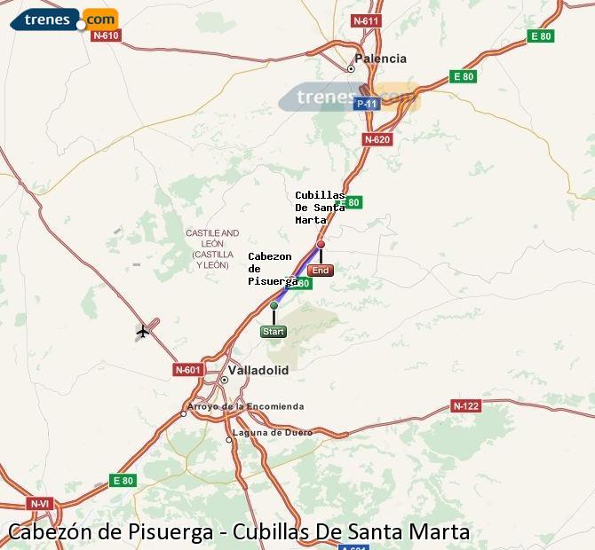 Enlarge map Trains Cabezón de Pisuerga to Cubillas De Santa Marta