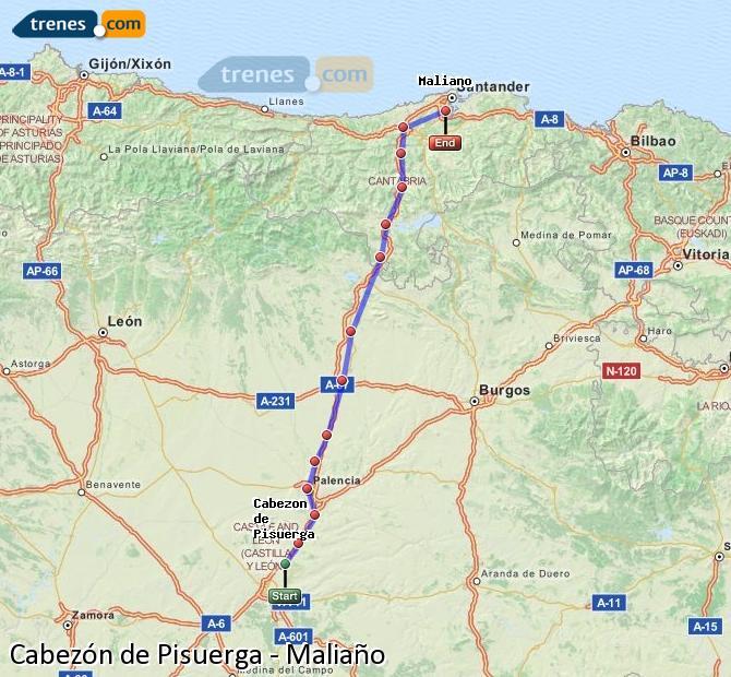 Enlarge map Trains Cabezón de Pisuerga to Maliaño