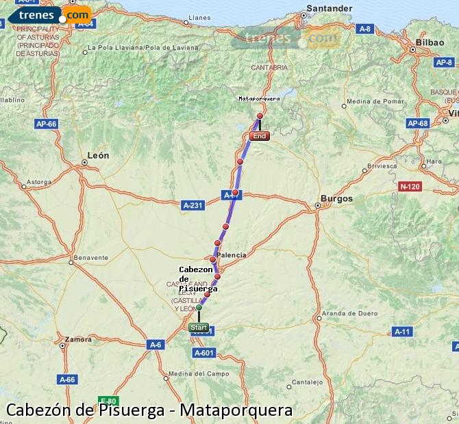 Enlarge map Trains Cabezón de Pisuerga to Mataporquera