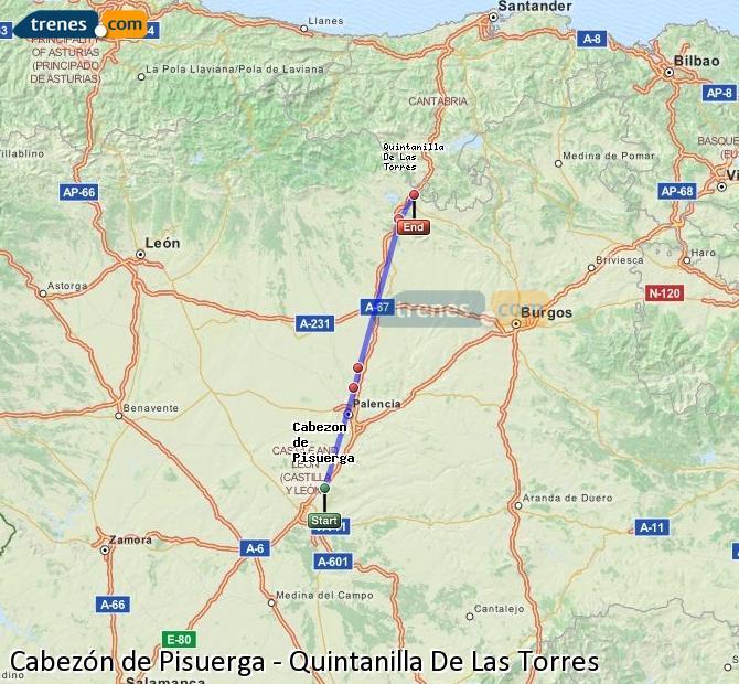 Enlarge map Trains Cabezón de Pisuerga to Quintanilla De Las Torres