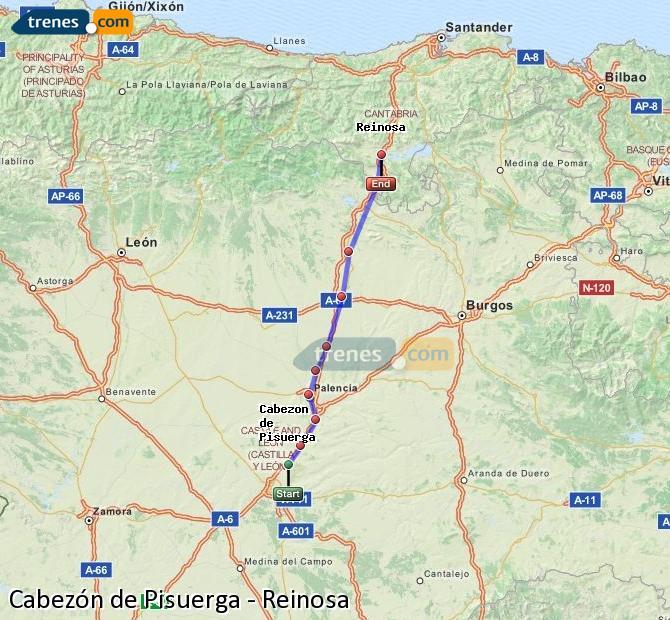 Enlarge map Trains Cabezón de Pisuerga to Reinosa