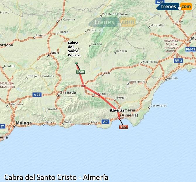 Enlarge map Trains Cabra del Santo Cristo to Almeria