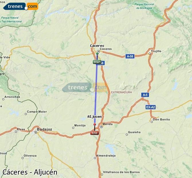 Karte vergrößern Züge Cáceres Aljucén