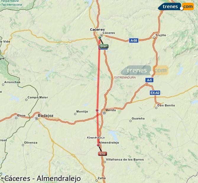 Enlarge map Trains Caceres to Almendralejo