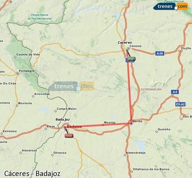 Enlarge map Trains Caceres to Badajoz